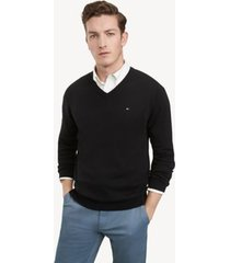 tommy hilfiger men's essential v-neck sweater black - l