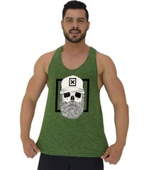 regata cavada masculina alto conceito caveira lenhador hipster bonã© verde flame - verde - masculino - algodã£o - dafiti