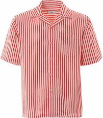ami striped short sleeve shirt | white/red | e20hc201-154