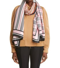 women's burberry mixed print silk scarf, size one size - pink