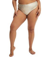 women's good american good waist bikini bottoms, size 2 - metallic