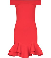 alexander mcqueen off-the-shoulder ruffle trim cocktail dress - red