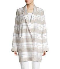 malika striped linen-blend jacket