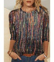 camicetta a maniche lunghe stampata a righe multicolore brillare plus