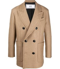 ami paris double-breasted short coat - neutrals