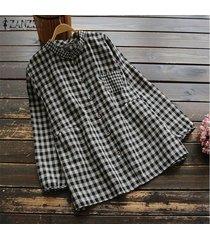 zanzea mujeres casual botones abajo tela escocesa comprobar tapas de la camisa étnica tamaño blusa suelta plus -negro