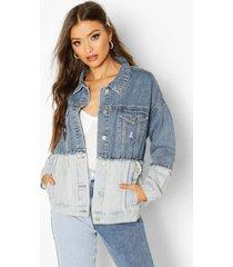 contrast oversize jean jacket, blue
