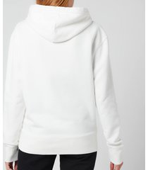 maison kitsuné women's grey fox head patch classic hoodie - ecru - xs