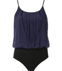 eva silk pleated bodysuit - blue