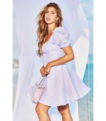 jacquared tie detail skater dress, lilac