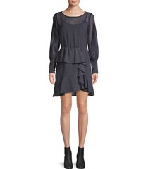 bailey 44 women's ruffle-trim mini printed dress - twilight - size 4