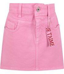 alberta ferretti pink skirt with red writing