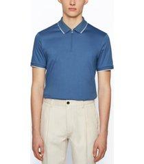 boss men's zip-neck polo shirt