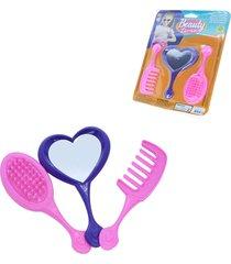 brinquedo infantil espelho, pente e escova – judy - beauty time – samba toys