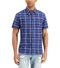 sun + stone men's daniel plaid shirt, created for macy's