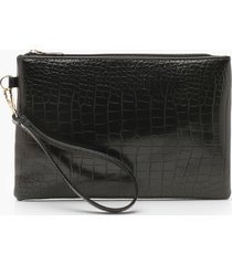 croc zip top clutch bag, black
