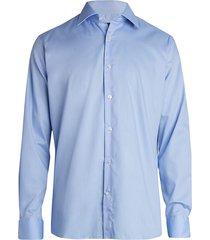 saks fifth avenue men's collection broken stripe dress shirt - light blue - size 18