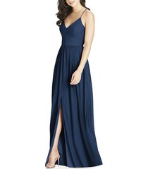 women's dessy collection spaghetti strap chiffon a-line gown, size 0 - blue
