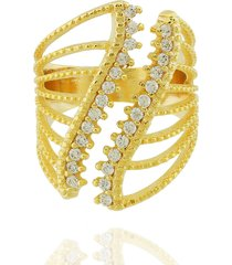 anel dona diva semi joias largo curva dourado
