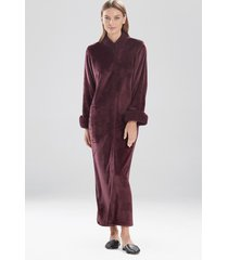natori plush sherpa zip lounger sleep/lounge/bath wrap/robe, women's, deep garnet, size m natori