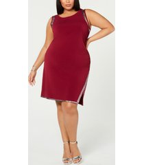 belldini plus size sleeveless studded sheath dress