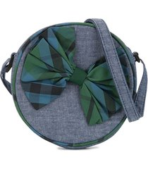 familiar checked bow detail shoulder bag - blue