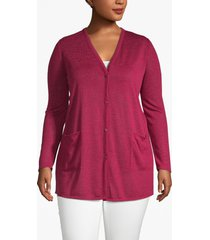 lane bryant women's lane essentials v-neck tunic cardigan 26/28 beet red