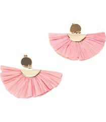 aretes mujer tipo abanico fibra rafia rosa - le frankie