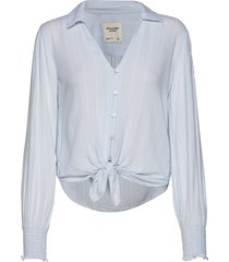 smocked shirt blouse lange mouwen blauw abercrombie & fitch