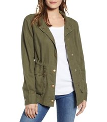 women's caslon cinch waist linen blend utility jacket