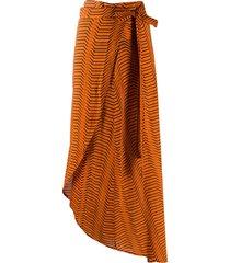 dvf diane von furstenberg x onia wraparound stripe-print skirt -