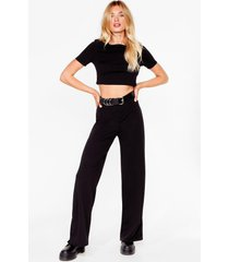 womens everything's about tee wide-leg pants lounge set - black