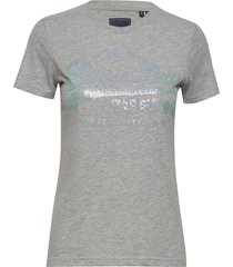 vl stitch sequin entry tee t-shirts & tops short-sleeved grå superdry