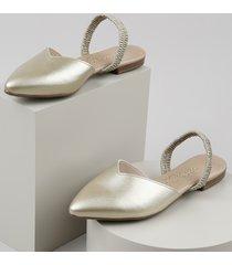 sapatilha feminina beira rio conforto aberta bico fino metalizada com elástico dourada