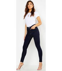 mid rise butt shaper skinny jeans, indigo