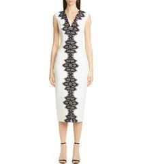 women's lela rose lace detail stretch wool midi sheath dress, size 16 - ivory