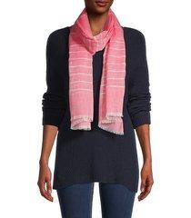 calvin klein women's striped frayed-trim scarf - eggshell