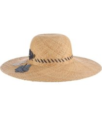 tommy bahama embroidered leaves raffia hat