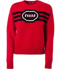miu miu f5 logo sweater