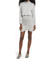 women's fraiche by j ruched turtleneck long sleeve dress, size large - grey