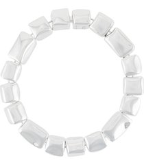 bottega veneta lightweight cube necklace - silver