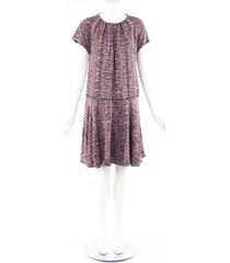proenza schouler printed red silk drop waist dress red/multicolor sz: m