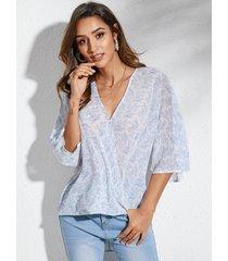 blusa de manga larga con cuello en v profundo de calicó azul yoins 3/4