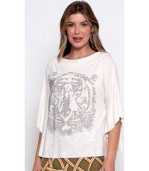 blusa bisã´ tiger off white - off-white - feminino - viscose - dafiti