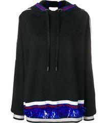no ka' oi stripe and sequin detail hoodie - black