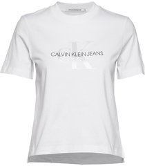 white monogram straight tee t-shirts & tops short-sleeved vit calvin klein jeans