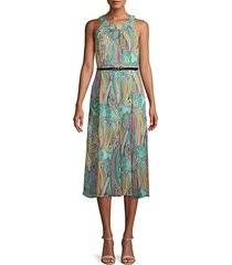 belted paisley halter dress