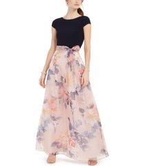 sl fashions petite floral organza gown