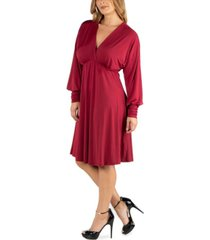 24seven comfort apparel long sleeve v-neck plus size cocktail dress