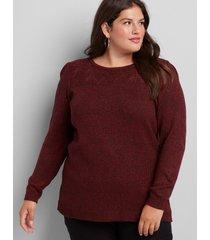 lane bryant women's pointelle-yoke sweater 22/24 haute red